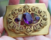 Sale Antique Victorian Sash Pin Brooch Purple Glass