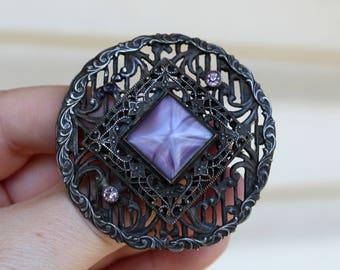 SALE Vintage Purple Czech Glass Purple Rhinestone Brooch