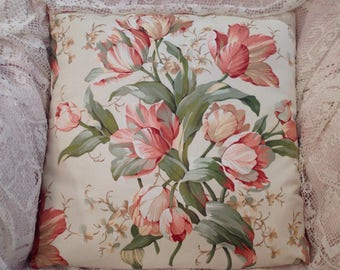 Tulips PILLOW COVER gorgeous floral in peach and green lovely vintage fabric