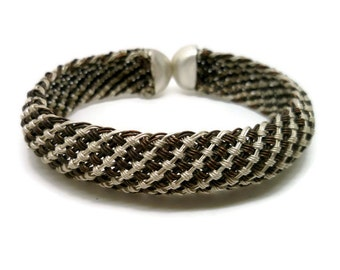 Silver and Copper Striped Bracelet - Woven or Braided