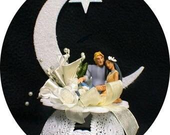 POCAHONTAS & John Smith Wedding Cake Topper you PICK IVORY or white moon light and stars Disney Indain princess