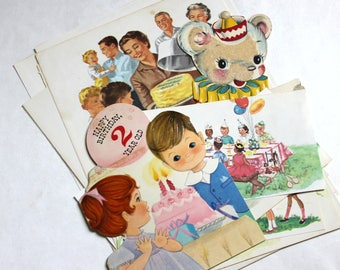 Happy Birthday Vintage Ephemera Collage Kit - Mixed Media, Collage, Altered Art, Assemblage, Scrapbooking, Junk Journal Supplies