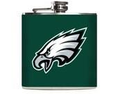 Philadelphia Eagles Football Flask, Personalized Women Mens Sports Team Custom Stainless Steel 6oz Hip Flask