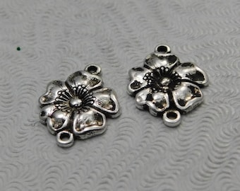 LuxeOrnaments Small Antiqued Sterling Silver Plated Brass Filigree Dogwood Flower Stamping 2 Loop Connector (2 pc) 14x11mm G-5849-S
