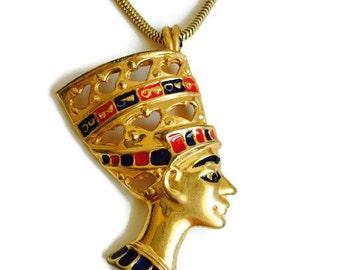 Egyptian Nefertiti Pendant Necklace