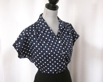 Cute Little Secretary Blouse, Navy Blue and White Polka Dots,  Size Large