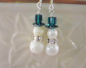 Snowman Earrings with Emerald Green TopHat -  Your choice - Celebrate the Holidays in Style, SRAJD