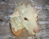 Needle felted sheep head faux fauna by feltfactory