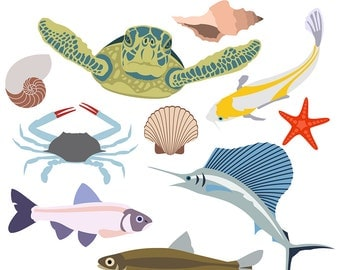 Sea Life Clipart, Beach Clipart, Fish Clipart, Sea Turtle Clipart, Seashell Clipart, Ocean Clipart, Crab Clipart, Digital Download