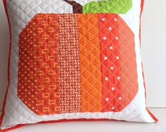 Scrappy Quilted Pillow Cover - fits 16 inch pillow form - eco friendly and one of a kind