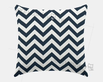 Square Pillow Cover - Navy Chevron - S1