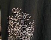 Psilocybe Cubensis Mushroom Organic Cotton Screen Printed Black Men's T shirt