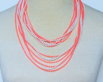 Vintage 70s Multi Eight Strand Bright Coral Peach Orange White Opaque Long Flapper Rope Length Multistrand Plastic Beaded Necklace