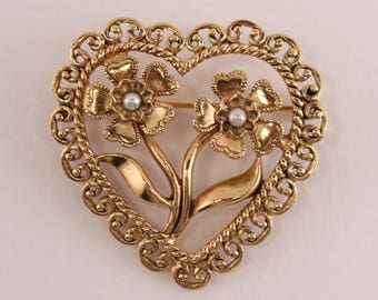 Vintage Signed Avon Antiqued Heart Gold Tone Faux Pearl Open Work Flower Romantic Cottage Chic Brooch Pin