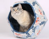 Art Nouveau floral modern Cat Ball cat bed in coral, navy, grey and blue flowers and poppies