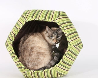 Pet Bed made in Green Stripes cotton fabric  - The Cat Ball is a modern cat bed with two openings