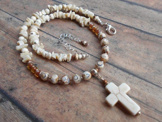 Christian Cross Beaded White Turquoise Spiritual Necklace White Turquoise White Coral Agate Crystal Adjustable Gemstone Necklace For Her