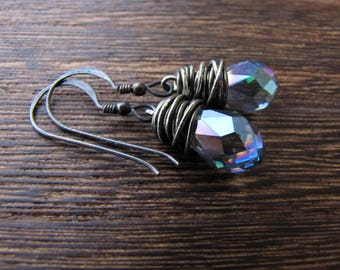 Crystal Earrings, Mystic Topaz, Aura Crystal, Wire Wrapped Earrings, Orgon Charged, Crystal Healing, Reiki Charged, Wire Wrapped