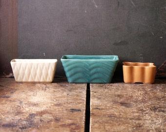 Vintage USA Pottery Rectangular Pots - Mid Century Decor - Sold Individually