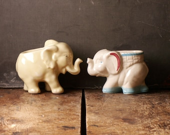 Vintage Porcelain Elephant Planters - Two Available