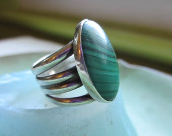 Vintage Huge Malachite Sterling  Ring 8.5