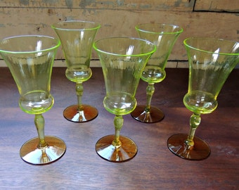 RARE Utility Glass Works Nilotus Wine Glasses – Set of 5 / Uranium Glass / Rare Vaseline Glass with Amber Foot / Cordial Glasses