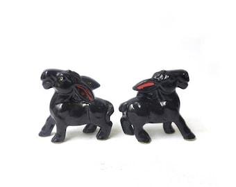 ON SALE Vintage mid century Japanese porcelain donkey figurines, kawaii
