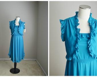Vintage 70s Aqua Blue Summer Sleeveless Dance Dress with Jacket // womens small -NOS