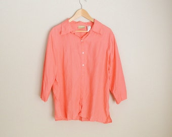 vintage coral pink linen blouse shirt  // womens large