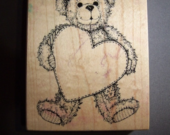 PSX Rubber stamp; K-1421 Teddy Bear with big heart; write your own note!