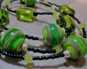 Green, Black and Silver Glass Bead Necklace.  Lampwork Glass Beads. Handmade Glass Beads. Australian Glass Jewellery. Kiln Fired Glass Beads