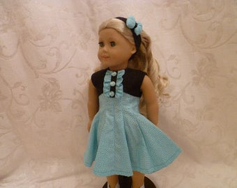 18 Inch Doll 1950's Style Teal and Black Polka Dot Flared Skirt Summer Dress for American Girl Dolls