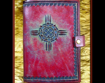 NATIVE AMERICAN SUN Design • A Beautifully Hand Crafted Medium Sized Leather Journal. Great for all sorts of notes and creative writing.