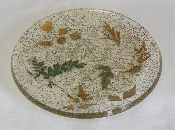 Mid-Century Vintage Lucite Glitter Tray W Embedded Gold Leaves, Confetti & Ferns