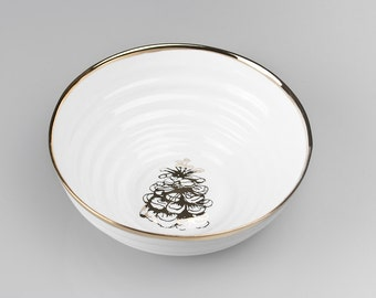 Fruit Bowl Gold Rimmed with Tree Cone, Nibbles Bowl, Serving Bowl, Ceramic Bowl