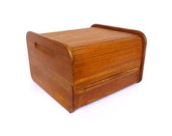 VINTAGE TEAK TAMBOUR Roll top Box