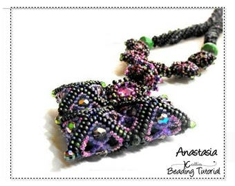 Herringbone Necklace with Twisted Rope Seed Bead Pattern Ndbele Square Pillow Beads Beading Instructions Beaded Jewelry Tutorial ANASTASIA