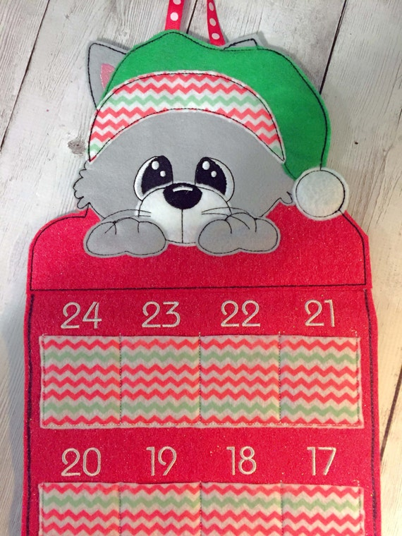 Calendar Embroidery Design : In the hoop advent cat calendar embroidery machine design