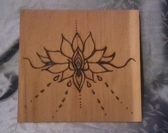 Lotus flower-symbol for strength and beauty, large portrait on cedar can be customized made to order