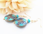 Turquoise Drop Earrings, Blue Butterfly Earrings, Boho Beaded Earrings, Gift for Her, Nickel Free Dangle Earring, Colorful Butterfly Jewelry