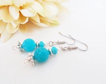 Turquoise Earrings Drop, Sister Birthday Gift for Her, Bohemian Dangle Earrings, Womens Gift, Ocean Blue Agate Earrings, Blue Leaf Earrings