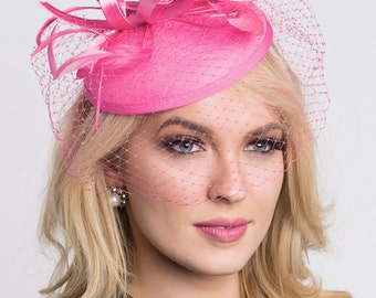 """Pink Fascinator - """"Juliet"""" Pink Round Felt Sinamay Hat w/ Feathers and Satin Ribbons"""