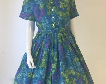 VLV 60s Dress/ Vintage 1960s Dress/ Shirtwaist Day Dress