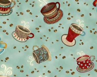 Coffee House Coffee Cups Toss on Lt Teal premium cotton fabric by Debi Hron for Henry Glass Co BTY
