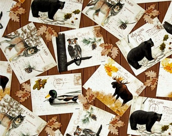 Northwoods Wolf, Bear, Moose Postcard print by Whistler Studios & Wild Apple Collection for Windham Fabrics BTY