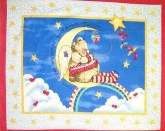 Daisy Kingdom Catch A Star Angel Teddy Bear Moon Quilt Panel Wallhanging Nursery Baby Fabric