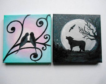 Howling Wolf Painting, Lovebirds Painting, Miniature Canvas