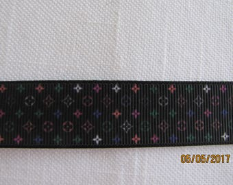"""Louis Vuitton Themed Black Background 7/8"""" Grosgrain Ribbon by the Yard"""