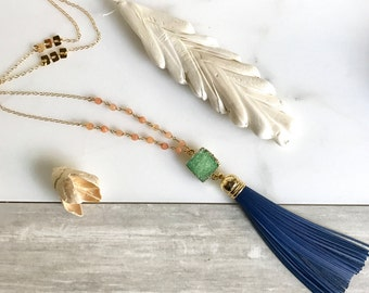 Tassel Necklace Aqua Peach and Navy. Leather Tassel.  Long Druzy Gold Tassel Necklace. Gold Tassel Necklace.  Boho Style. Strand Necklace.