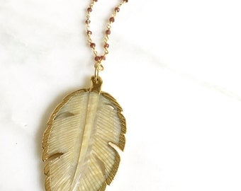 Long Leaf Necklace. Boho Necklace with Shell Leaf Pendant and Garnet Beaded Chain. Long Gold Leaf Necklace. Unique Gift.